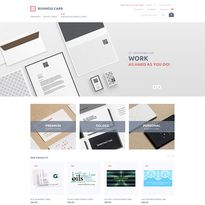 Business Card Printing Magento Theme (Magento theme for office supplies and stationery) Item Picture