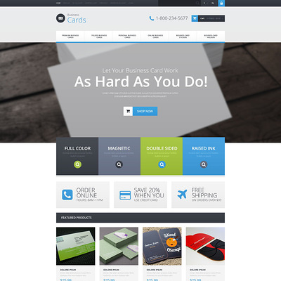 Business Card Provider OpenCart Template (OpenCart theme for stationery, business cards, and office supplies) Item Picture