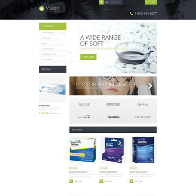 Contact Lens Store OpenCart Template (OpenCart theme for health and medical stores) Item Picture