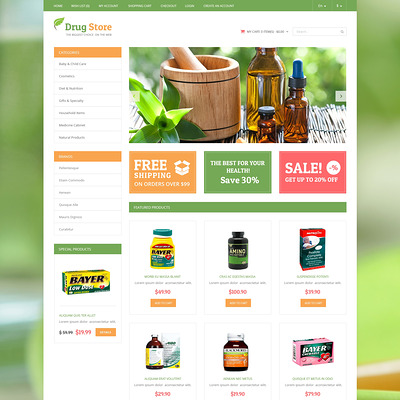Drug Store OpenCart Template (OpenCart theme for health and medical stores) Item Picture
