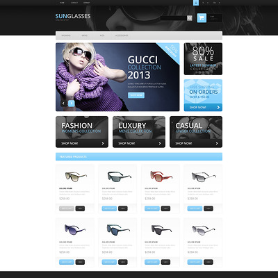 Fashionable Sunglasses PrestaShop Theme (PrestaShop theme for sunglasses and eyewear) Item Picture