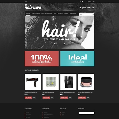 Hair Care Products Store PrestaShop Theme (PrestaShop theme for hair extensions and hair products) Item Picture