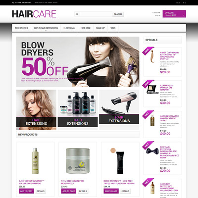 Hairdresser's Stuff Magento Theme (Magento theme for hair and beauty products) Item Picture
