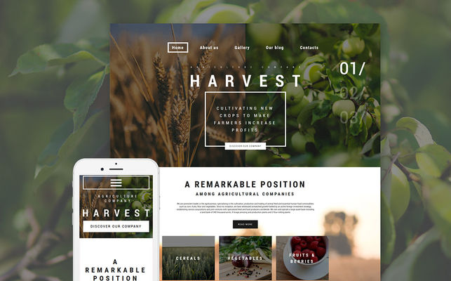 Harvest WordPress Theme (farming and agricultural WordPress theme) Screenshot