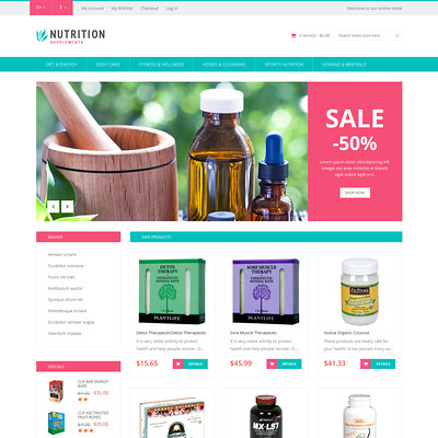 Healthy Life Supplements Magento Theme (Magento theme for medical and health stores) Item Picture