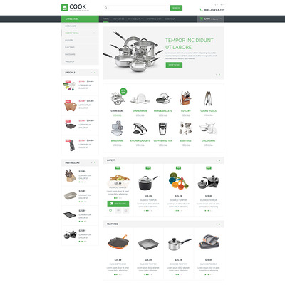 Kitchen Supplies Store OpenCart Template (OpenCart theme for kitchen supplies) Item Picture
