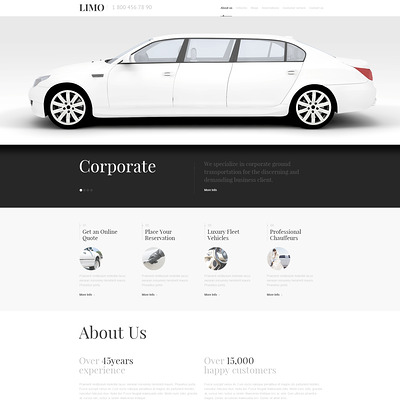 Limousine Services Responsive WordPress Theme (WordPress theme for car, vehicle, and automotive websites) Item Picture