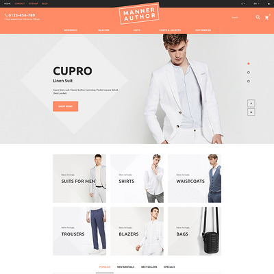 MannerAuthor (PrestaShop theme for mens clothing) Item Picture