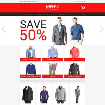 Men's Corporate Fashion Magento Theme (Magento theme for mens and womens clothing) Item Picture