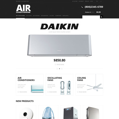 Modern Air Conditioning Magento Theme (Magento theme for home improvement and construction supply stores) Item Picture