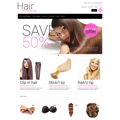 Multipurpose Hair Extensions Magento Theme (Magento theme for hair and beauty products) Item Picture