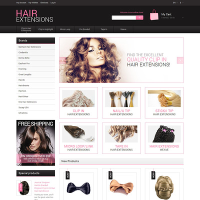 Natural Hair Extensions Magento Theme (Magento theme for hair and beauty products) Item Picture