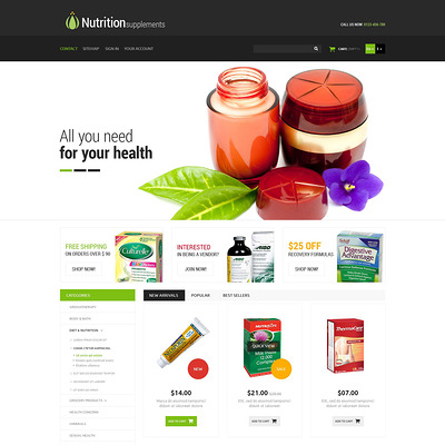 Nutrition Products PrestaShop Theme (PrestaShop theme for health and medical stores) Item Picture