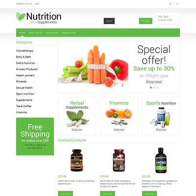 Nutrition Store Responsive OpenCart Template (OpenCart theme for health and medical stores) Item Picture