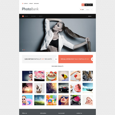 Photo and Video Content PrestaShop Theme (PrestaShop theme for stock videos and images) Item Picture