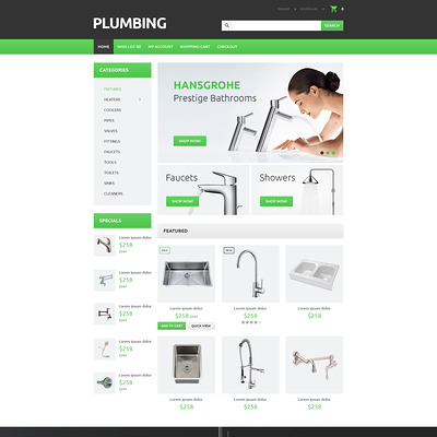 Plumber's Tool Case OpenCart Template (OpenCart theme for home improvement and consttruction supply stores) Item Picture
