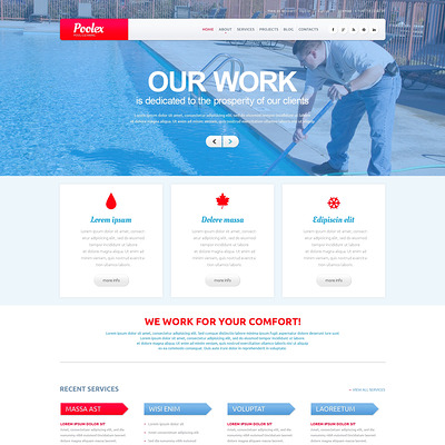 Pool Cleaning Company WordPress Theme (WordPress theme for pool cleaning companies and services) Item Picture