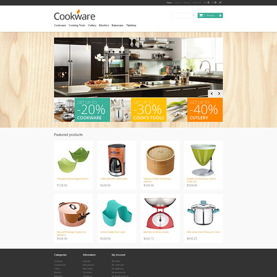 Responsive Cookware Store PrestaShop Theme (PrestaShop theme for housewares and kitchen supplies) Item Picture