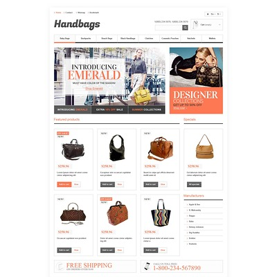 Responsive Handbags Boutique PrestaShop Theme (PrestaShop theme for purses and handbags) Item Picture