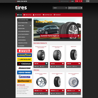 Responsive Tires Store OpenCart Template (OpenCart theme for automotive, car, and vehicle stores) Item Picture