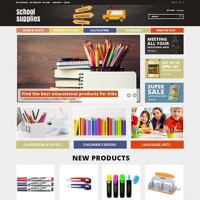School Essentials Magento Theme (Magento theme for office supplies and stationery) Item Picture