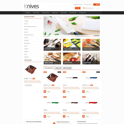 Selling Knives PrestaShop Theme (PrestaShop theme for housewares and kitchen supplies) Item Picture