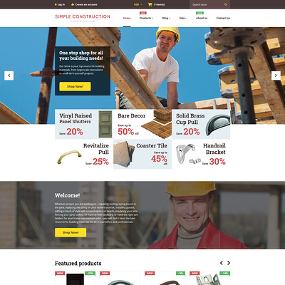 Simple Construction Shopify Theme (Shopify theme for tools and home improvement stores) Item Picture