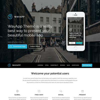 Software Company Responsive WordPress Theme (WordPress theme for promoting apps) Item Picture