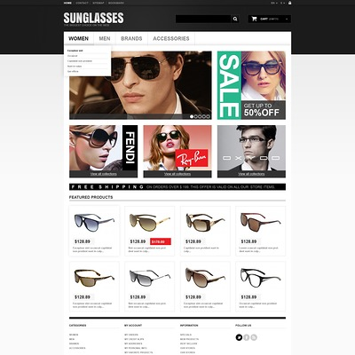 Sunglasses Boutique PrestaShop Theme (PrestaShop theme for sunglasses and eyewear) Item Picture
