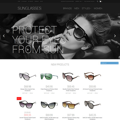 Sunglasses Shop Magento Theme (Magento theme for selling sunglasses) Item Picture