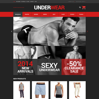 Underwear for Men Magento Theme (Magento theme for selling lingerie and underwear) Item Picture