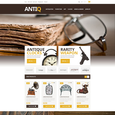 Upgrade Your Online Store OpenCart Template (OpenCart theme for antique stores) Item Picture