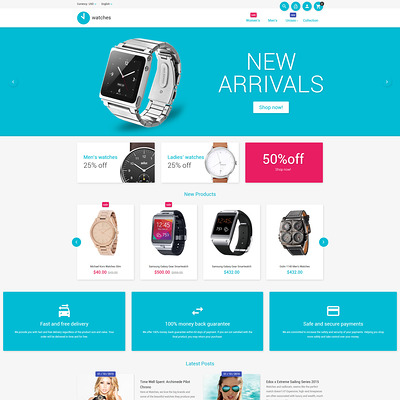 Watches Magento Theme (Magento theme for selling jewelry and watches) Item Picture