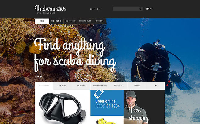 6 of the Best PrestaShop Themes for Scuba Diving Stores