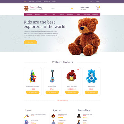 Bunny Toy OpenCart Template (OpenCart theme for kids toys) Item Picture