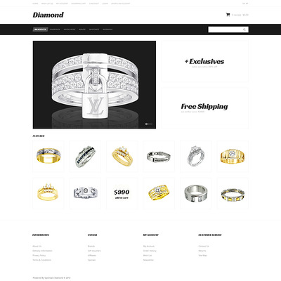 Just Diamond OpenCart Template (OpenCart theme for selling jewelry and watches) Item Picture