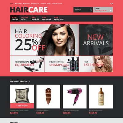 Responsive Hair Care Store OpenCart Template (OpenCart theme for selling cosmetics, hair products, and perfumes) Item Picture