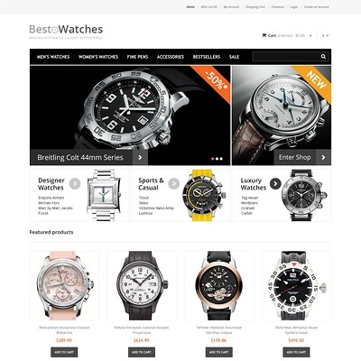 Responsive Watches Store OpenCart Template (OpenCart theme for selling jewelry and watches) Item Picture