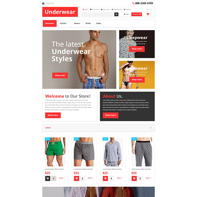Underwear OpenCart Template (OpenCart theme for selling lingerie and underwear) Item Picture