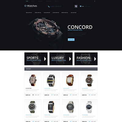Watches Responsive OpenCart Template (OpenCart theme for selling jewelry and watches) Item Picture