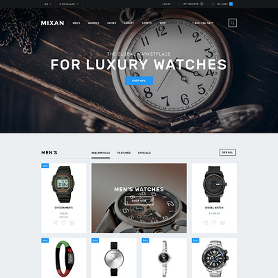 Watches Shop OpenCart Template (OpenCart theme for selling jewelry and watches) Item Picture