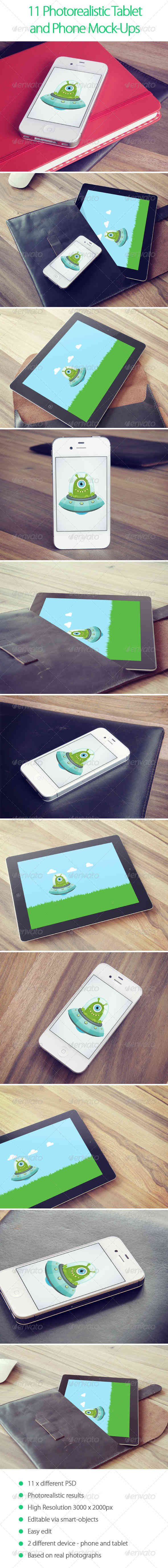 11 Photorealistic Tablet and Phone Mock-Ups