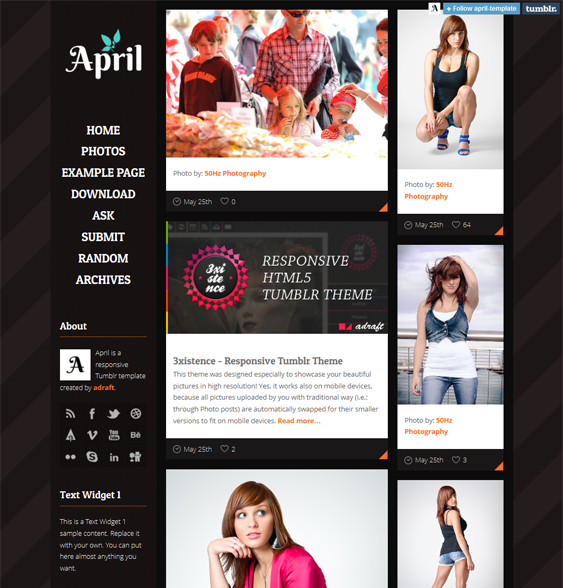 april dark tumblr theme