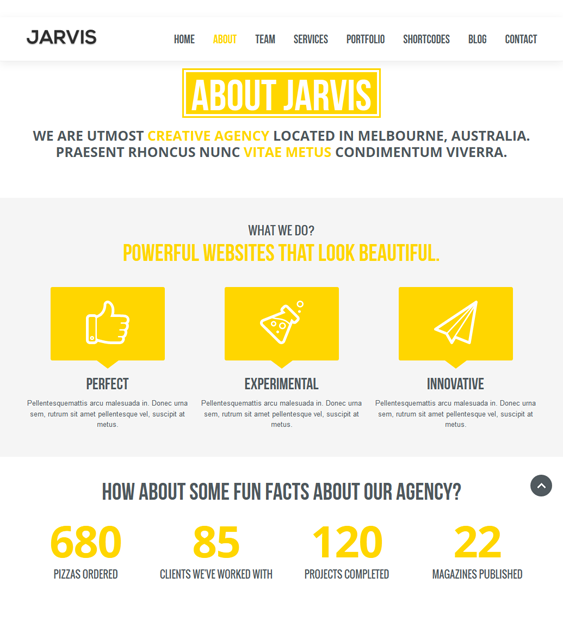 jarvis one page drupal theme