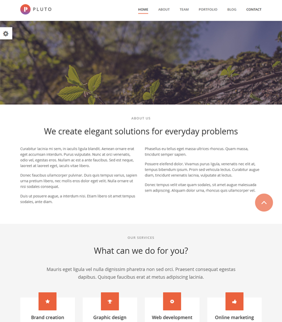 pluto one page drupal theme