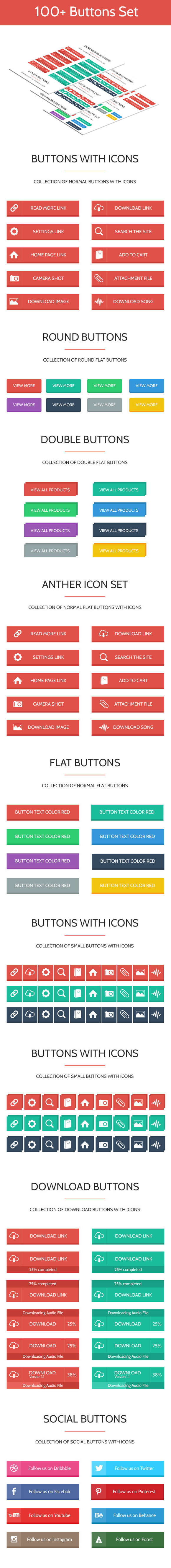 100+ Flat & Modern Web Buttons Set