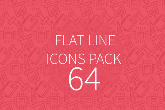 64 Flat Line Icons Pack