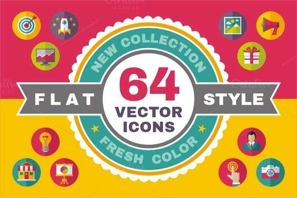 64 Vector Icons in Flat Design Style