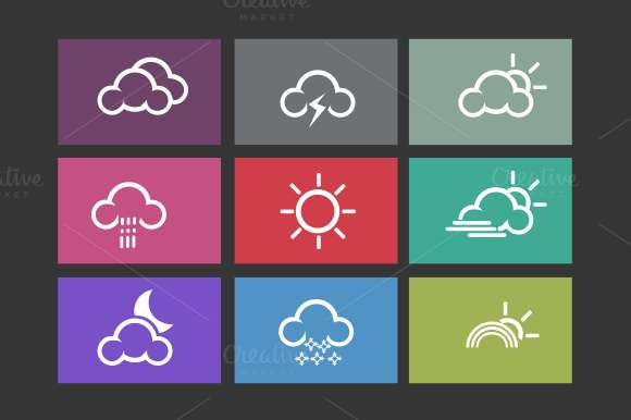 9 Flat Weather Icons