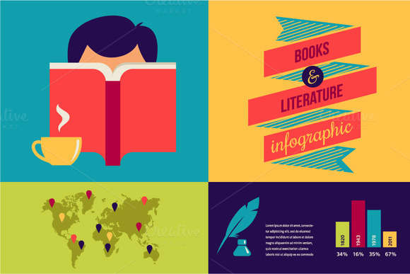 Books Infographic and icons